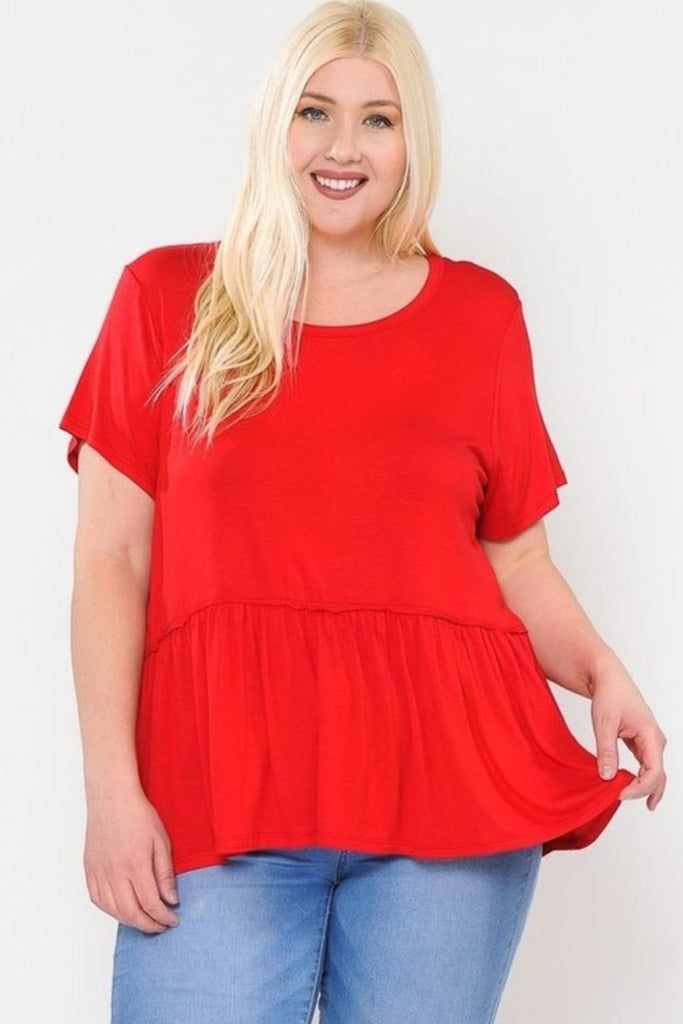 Baby Doll Top (Red) Plus Size - Boutique109 Alpharetta Apparel and Accessories for Women
