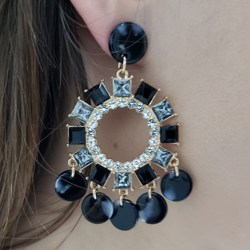 Black Resin & Crystal Chandelier Earring - Boutique109 Alpharetta Jewelry