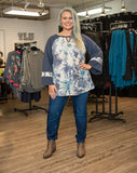 Tie Dye Wide Sleeve Top Blue Regular & Plus Size - Boutique109 Alpharetta Apparel and Accessories for Women