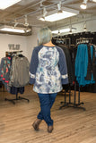 Tie Dye Wide Sleeve Top Blue Regular & Plus Size Back View - Boutique109 Alpharetta Apparel and Accessories for Women