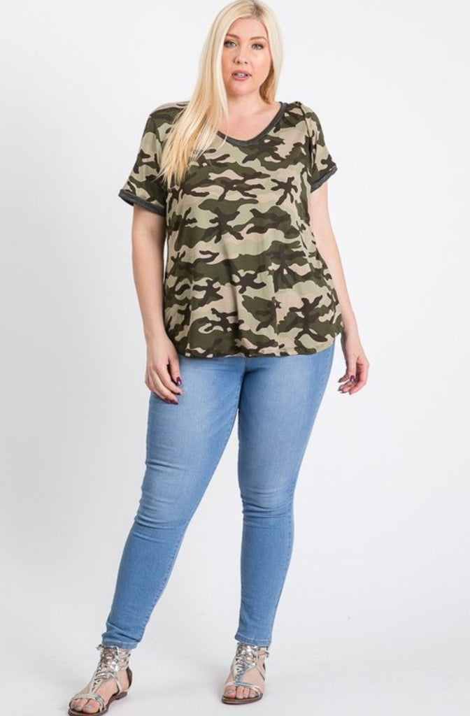 V Neck Camouflage Top Front View - Boutique109 Alpharetta Apparel and Accessories for Women