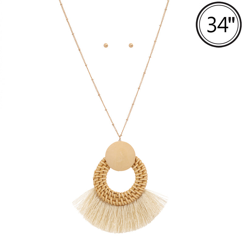 Wicker & Wood Tassel Necklace (Ivory) - Boutique109