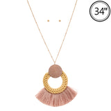 Wicker & Wood Tassel Necklace (Blush) - Boutique109
