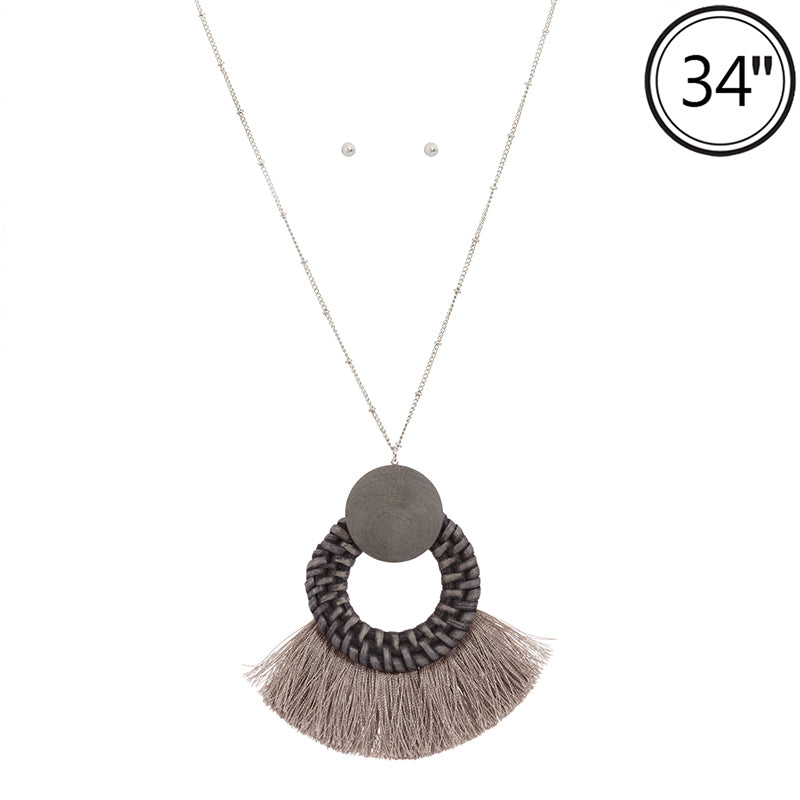 Wicker & Wood Tassel Necklace (Denim) - Boutique109