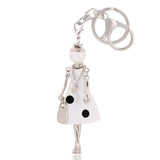 Girl Key Chain/Purse Charms (White/Black Polka) - Boutique109