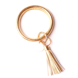 ORing Wristlet Keychain with Tassel and Enamel Disc Accents (Gold) - Boutique109 Keychains Accessories and Gift Items