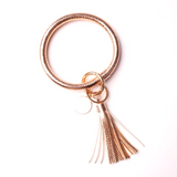 ORing Wristlet Keychain with Tassel and Enamel Disc Accents (Rose Gold) - Boutique109 Keychains Accessories and Gift Items