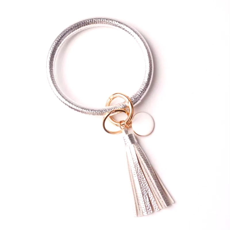 ORing Wristlet Keychain with Tassel and Enamel Disc Accents (Silver) - Boutique109 Keychains Accessories and Gift Items
