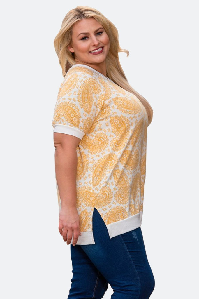 Paisley Sports Top in Yellow/White Side View - Boutique109 Alpharetta Apparel and Accessories for Women