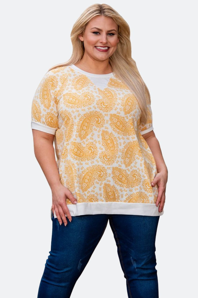 Paisley Sports Top in Yellow/White - Boutique109 Alpharetta Apparel and Accessories for Women