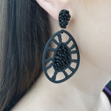 Resin & Seed Bead Earring (Matte Black) - Boutique109 Alpharetta Apparel and Accessories for Women