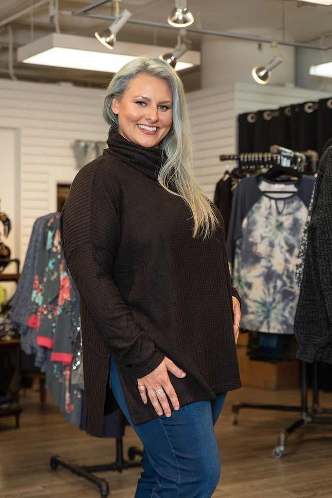 Ribbed Knit Cowl Neck Sweater Black Regular & Plus Size Side View - Boutique109 Alpharetta Apparel and Accessories for Women