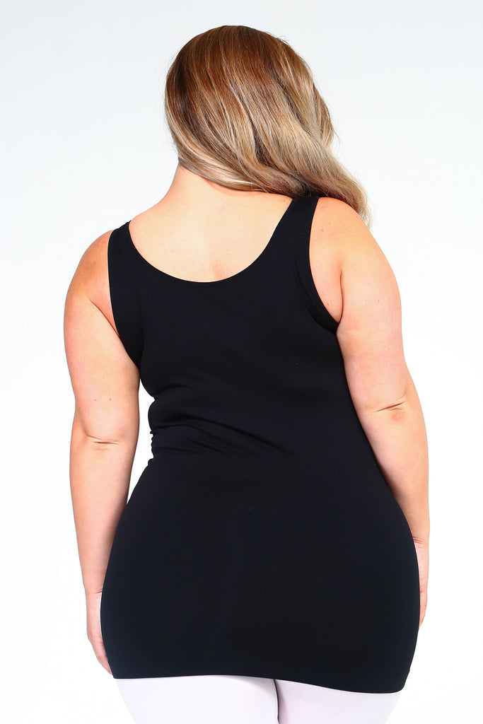Strap Friendly Tank Top (Black) Plus size Back View - Boutique109 Alpharetta Apparel and Accessories for Women
