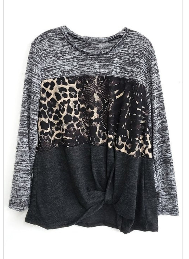 Snakeskin Color Block Top Plus Size