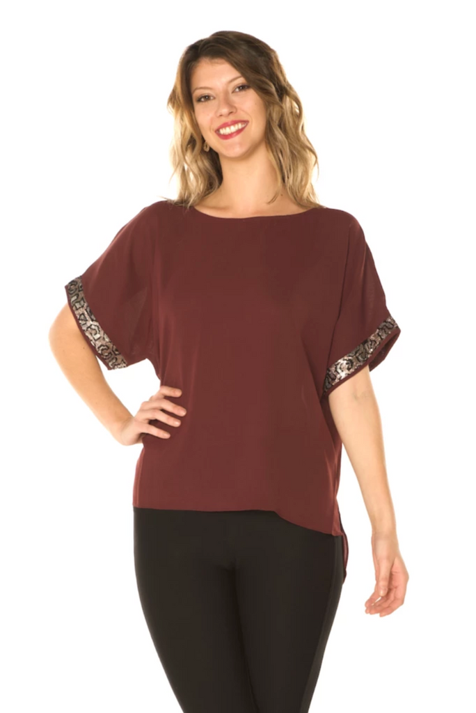 Sequin Detail Holiday Top (Wine) - Boutique109 Alpharetta