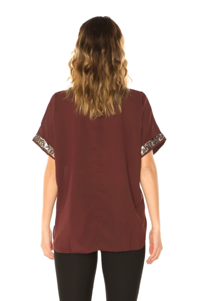Sequin Detail Holiday Top (Wine) Back View - Boutique109 Alpharetta Apparel and Accessories for Women