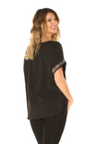 Sequin Detail Holiday Top (Black) Back View - Boutique109 Alpharetta Apparel and Accessories for Women