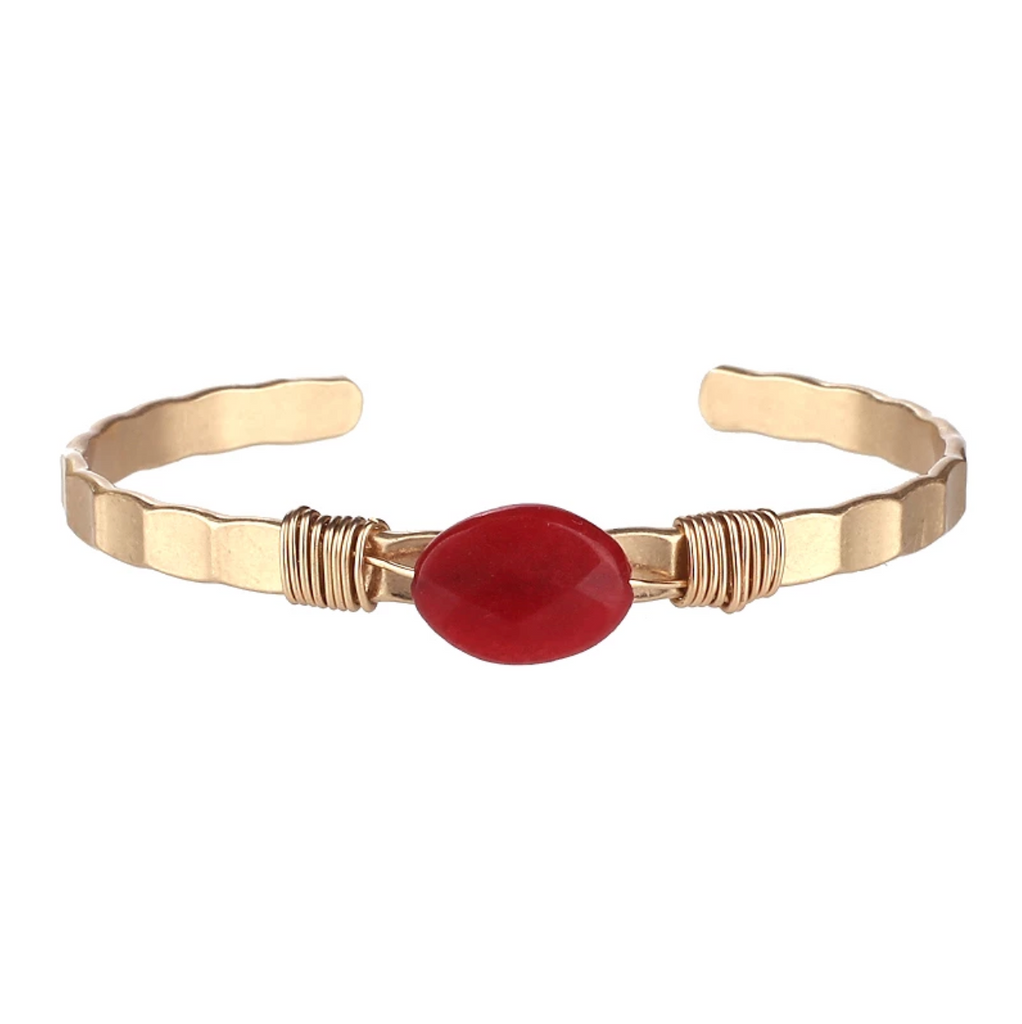 Semi Precious Open Bangle (Red Agate) - Boutique109 Alpharetta Apparel and Accessories for Women