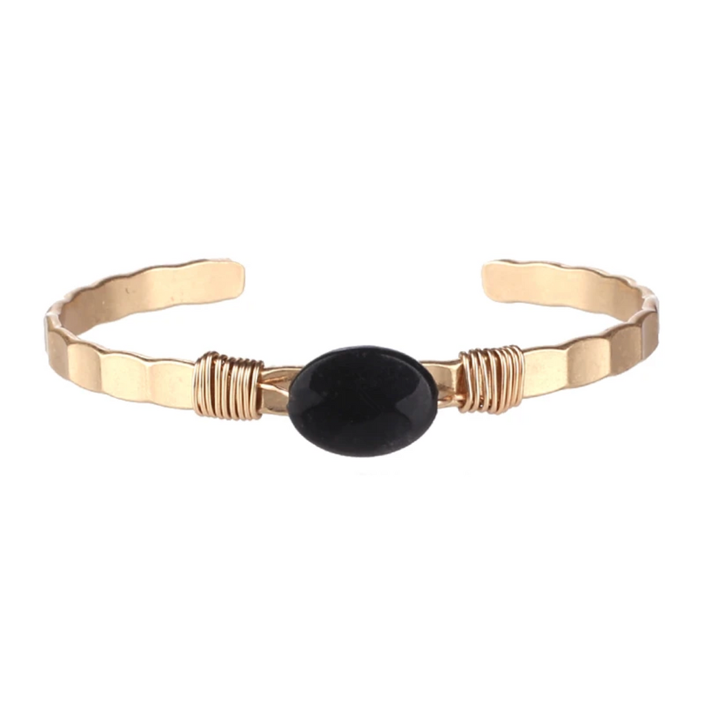 Semi Precious Open Bangle (Black Agate) - Boutique109 Alpharetta Apparel and Accessories for Women