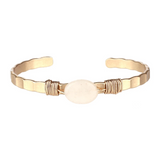 Semi Precious Open Bangle (Natural) - Boutique109 Alpharetta Apparel and Accessories for Women