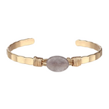 Semi Precious Open Bangle (Grey) - Boutique109 Alpharetta Apparel and Accessories for Women