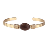 Semi Precious Open Bangle (Brown Agate) - Boutique109 Alpharetta Apparel and Accessories for Women