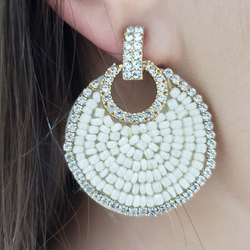 Seed Bead Crystal Disc Earring (Ivory)