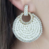 Seed Bead Crystal Disc Earring (Ivory) - Boutique109 Alpharetta Apparel and Accessories for Women