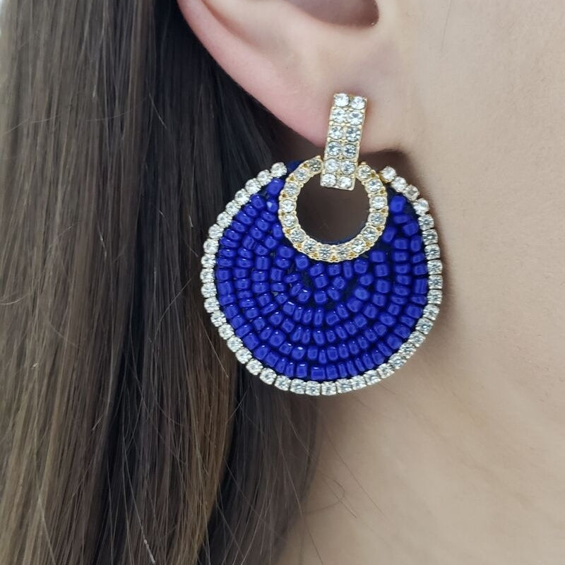 Seed Bead Crystal Disc Earring (Royal Blue)
