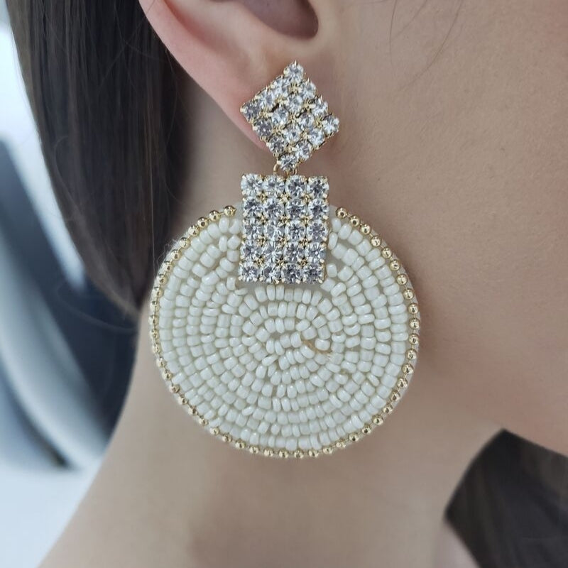 Seed Bead Crystal Statement Earring (Ivory)