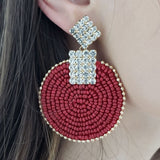 Seed Bead Crystal Statement Earring (Red)