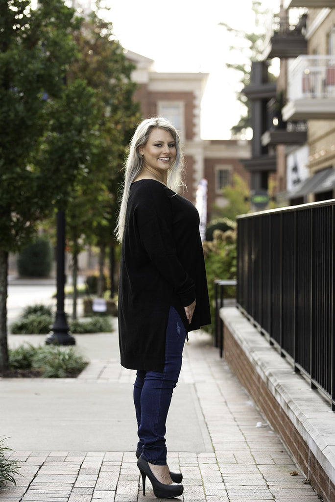 Side Slit Hi Low Sweater Black Plus Size Side View - Boutique109 Alpharetta Apparel and Accessories for Women