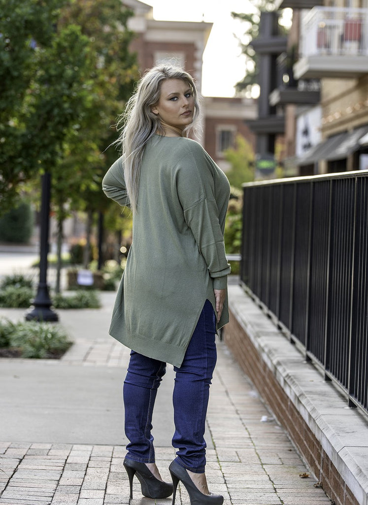 Side Slit Hi Low Sweater Light Olive Plus Size Side View - Boutique109 Alpharetta Apparel and Accessories for Women