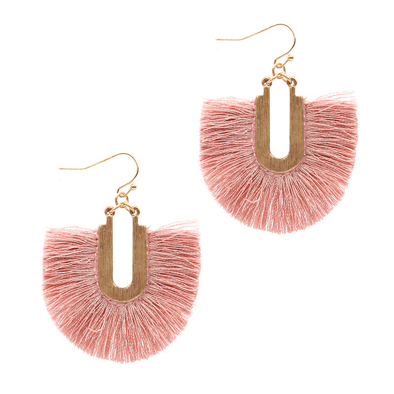 Silk Tassel Dangle Earrings (Blush) - Boutique109