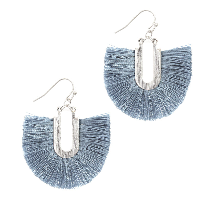 Silk Tassel Dangle Earrings (Blue) - Boutique109