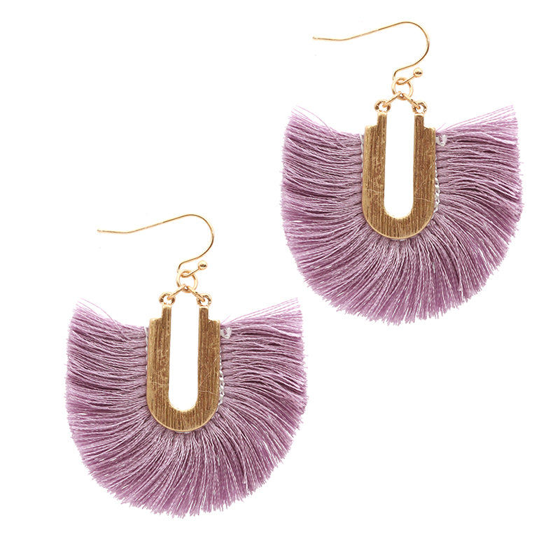 Silk Tassel Dangle Earrings (Lavender) - Boutique109