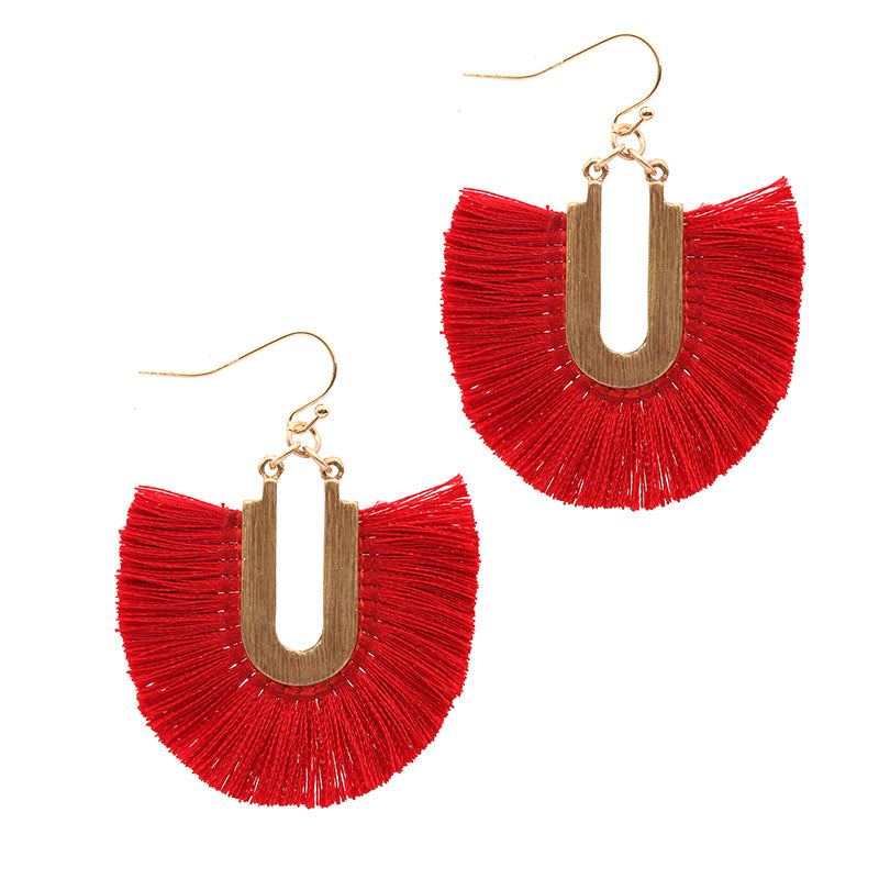 Silk Tassel Dangle Earrings (Red) - Boutique109