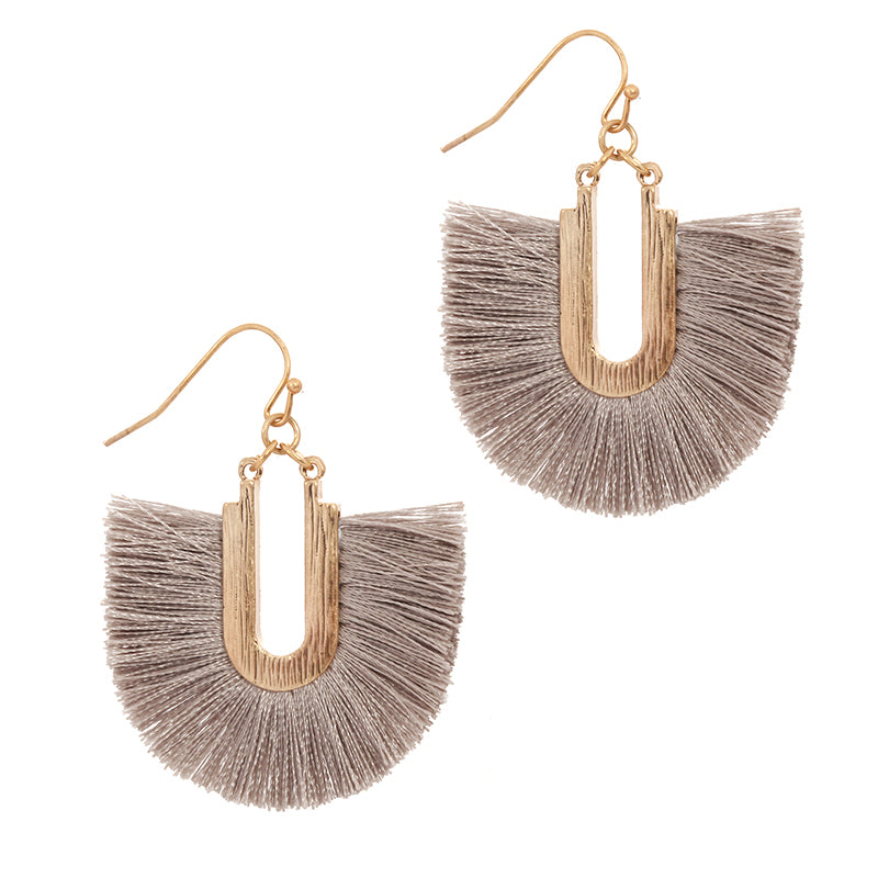 Silk Tassel Dangle Earrings (Taupe) - Boutique109