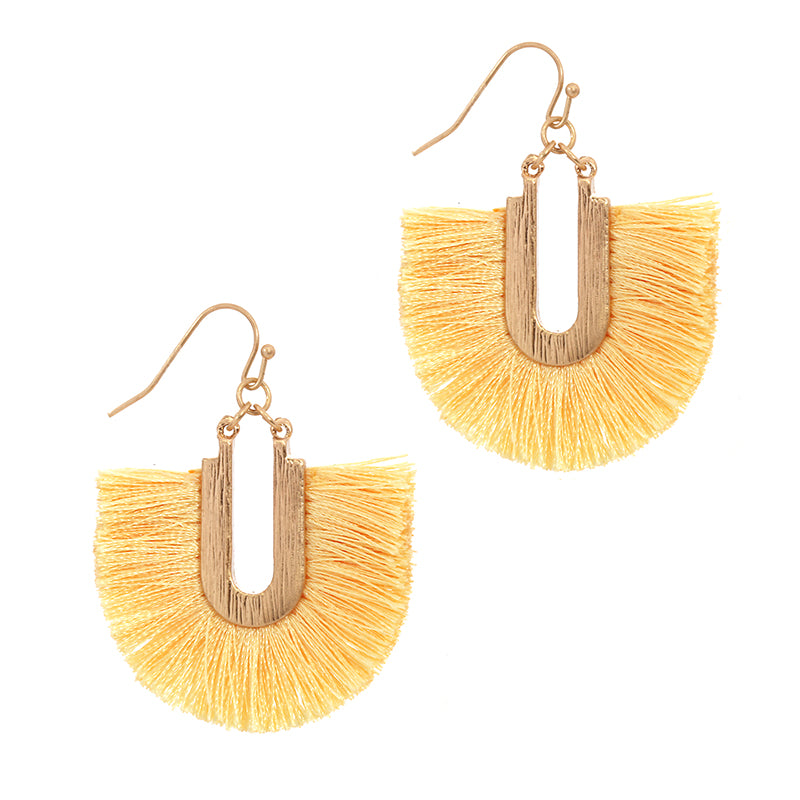 Silk Tassel Dangle Earrings (Yellow) - Boutique109