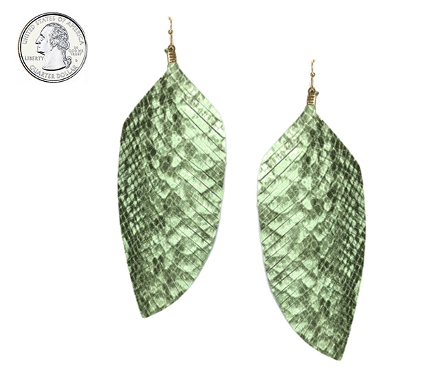 Textured Leather Feather Earrings (Sage Green) - Boutique109