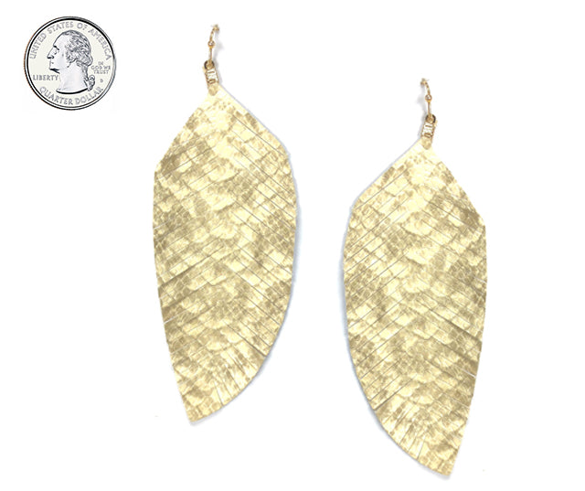 Textured Leather Feather Earrings (Natural) - Boutique109 Alpharetta Apparel and Accessories for Women