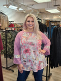 Tie Dye Wide Sleeve Top Pink Regular & Plus Size - Boutique109 Alpharetta Apparel and Accessories for Women