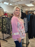 Side View Tie Dye Wide Sleeve Top Pink Regular & Plus Size - Boutique109 Alpharetta Apparel and Accessories for Women