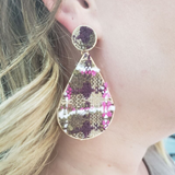 Tweed Fabric Earring (Brown) - Boutique109 Alpharetta Apparel and Accessories for Women