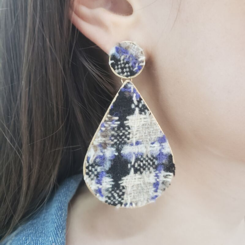 Tweed Fabric Earring - Boutique109 Alpharetta Apparel and Accessories for Women