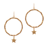 Textured Star Hoop Earring (Gold) - Boutique109
