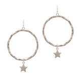 Textured Star Hoop Earring (Silver) - Boutique109