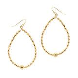 Ball Bead Oval Hoop Earring (Gold)