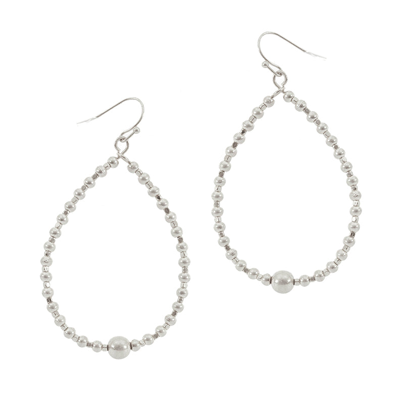 Ball Bead Oval Hoop Earring (Silver) - Boutique109 Alpharetta Apparel and Accessories for Women
