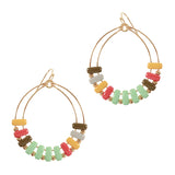 Resin Bead Hoop Earring Turquoise Multi